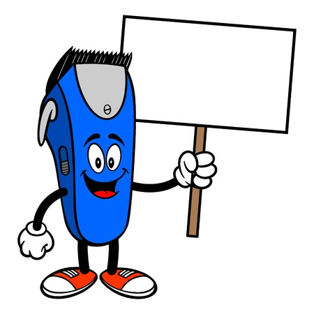 Electrical Hair Clipper Mascot with a Sign - A vector cartoon illustration of a barber shop electrical hair clipper mascot holding a Sign.