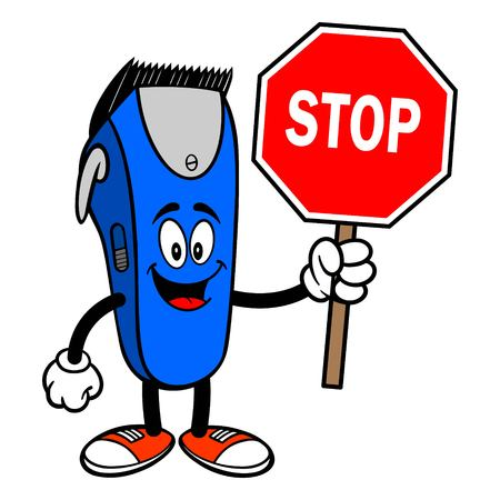 Electrical Hair Clipper Mascot with a Stop Sign - A vector cartoon illustration of a barber shop electrical hair clipper mascot holding a Stop Sign. 일러스트