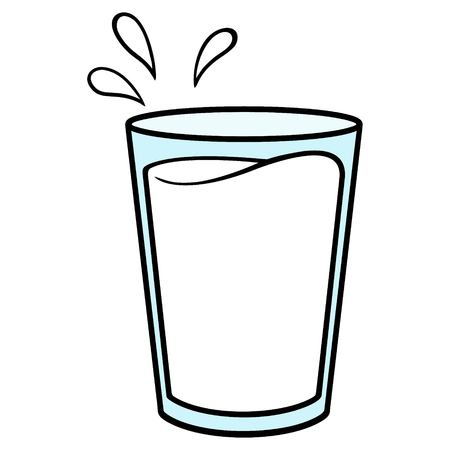 Glass of Milk - A vector cartoon illustration of a glass of Milk.  イラスト・ベクター素材