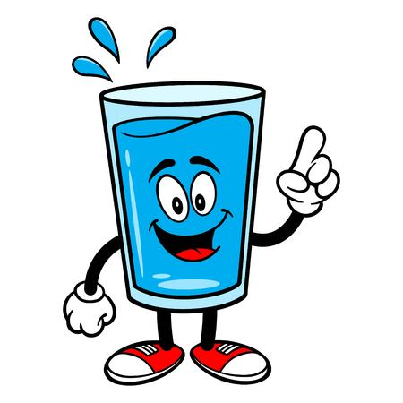 Glass of Water Mascot Pointing - A vector cartoon illustration of a glass of Water mascot pointing. 矢量图像