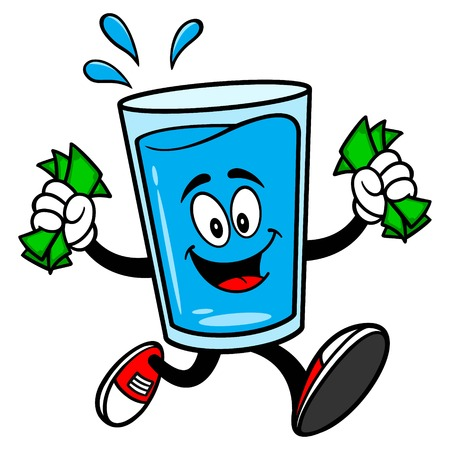 Glass of Water Mascot running with Money - A vector cartoon illustration of a glass of Water mascot running with Money.