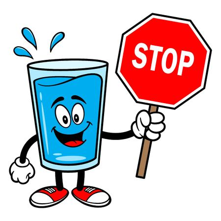 Glass of Water Mascot with a Stop Sign - A vector cartoon illustration of a glass of Water mascot holding a Stop Sign. Ilustrace