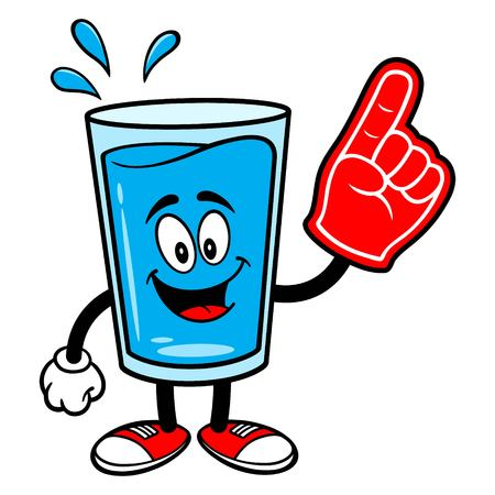 Glass of Water Mascot with a Foam Finger - A vector cartoon illustration of a glass of Water mascot with a Foam Hand.