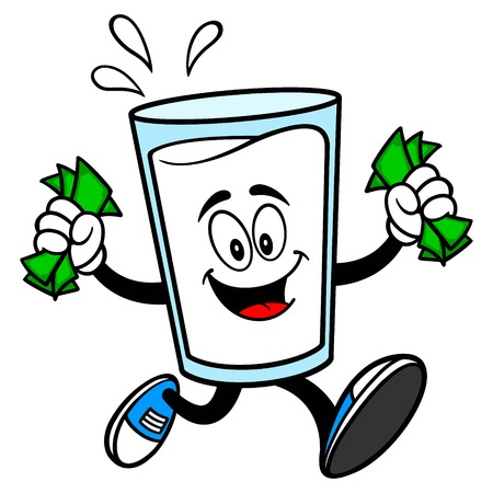 Glass of Milk Mascot running with Money - A vector cartoon illustration of a glass of Milk mascot running with Money.