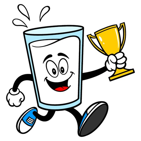 Glass of Milk Mascot running with a Trophy - A vector cartoon illustration of a glass of Milk mascot with a Trophy. Ilustrace
