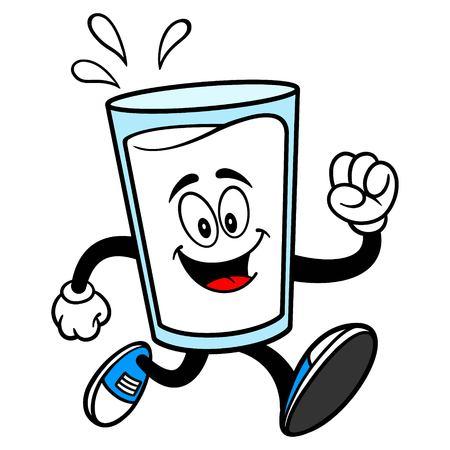 Glass of Milk Mascot Running - A vector cartoon illustration of a glass of Milk mascot.