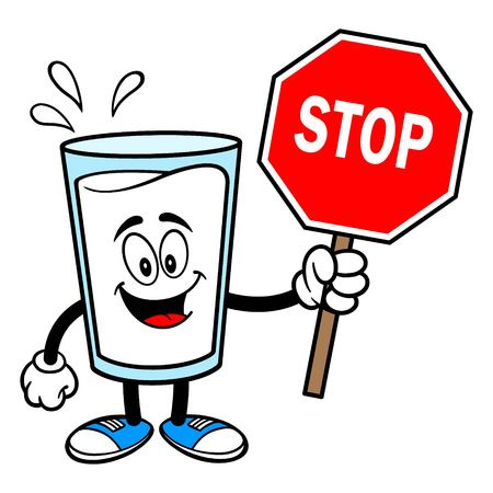 Glass of Milk Mascot with a Stop Sign - A vector cartoon illustration of a glass of Milk mascot holding a Stop Sign.  イラスト・ベクター素材