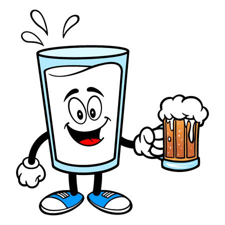 Glass of Milk Mascot with a Beer - A vector cartoon illustration of a glass of Milk mascot holding a Beer.  イラスト・ベクター素材
