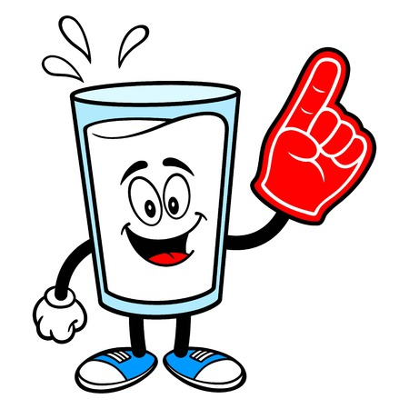Glass of Milk Mascot with a Foam Finger - A vector cartoon illustration of a glass of Milk mascot with a Foam Hand.