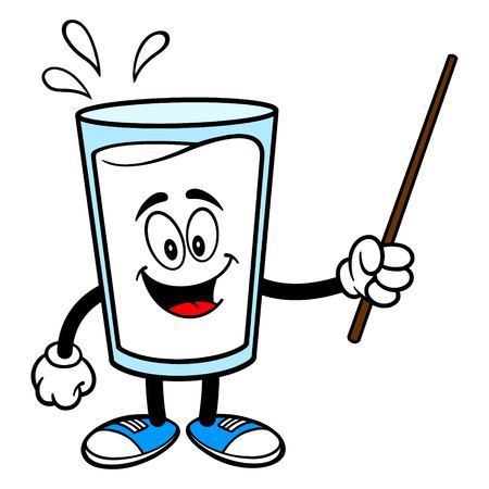 Glass of Milk Mascot with a Pointer - A vector cartoon illustration of a glass of Milk mascot holding a Pointer stick.