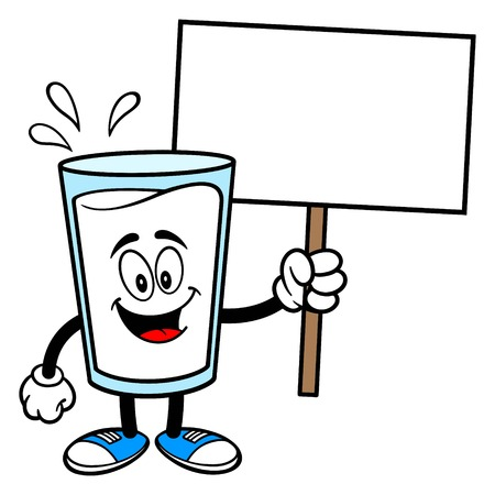 Glass of Milk Mascot with a Sign - A vector cartoon illustration of a glass of Milk mascot holding a blank Sign.