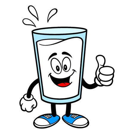 Glass of Milk Mascot with Thumbs Up - A vector cartoon illustration of a glass of Milk mascot holding Thumbs Up sign.