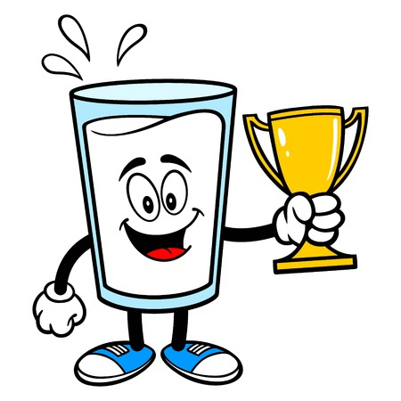 Glass of Milk Mascot with a Trophy - A vector cartoon illustration of a glass of Milk mascot holding a Trophy.