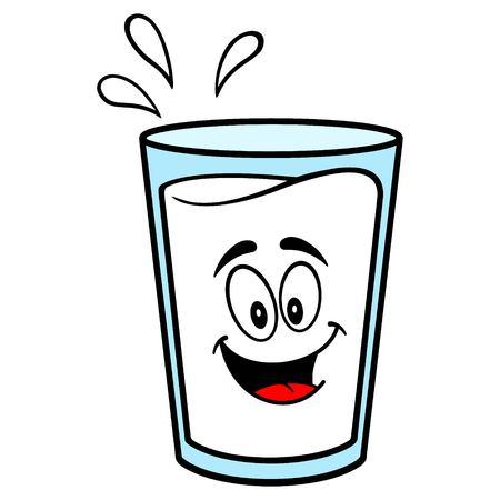 Glass of Milk Mascot - A vector cartoon illustration of a glass of Milk mascot.  イラスト・ベクター素材