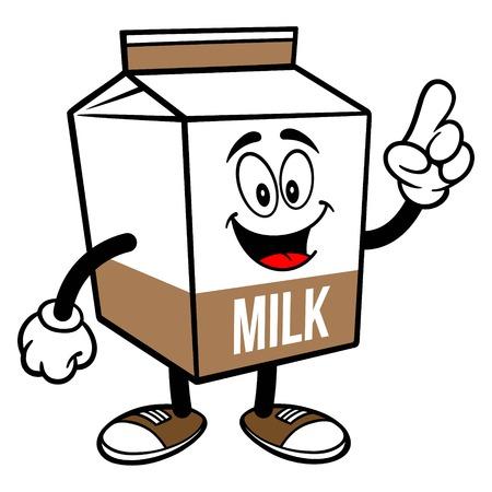 Chocolate Milk Carton Mascot Pointing - A cartoon illustration of a Chocolate Milk carton mascot.  イラスト・ベクター素材