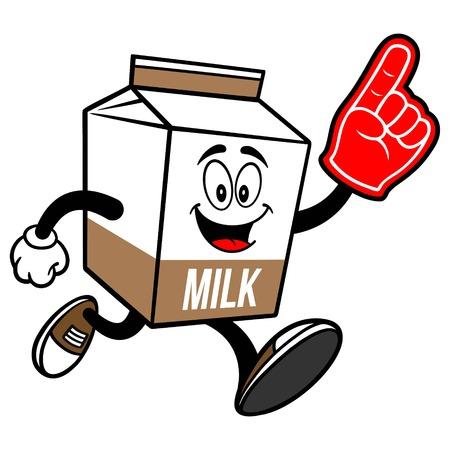 Chocolate Milk Carton Mascot running with a Foam Finger - A cartoon illustration of a Chocolate Milk carton mascot.