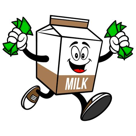 Chocolate Milk Carton Mascot running with Money - A cartoon illustration of a Chocolate Milk carton mascot.