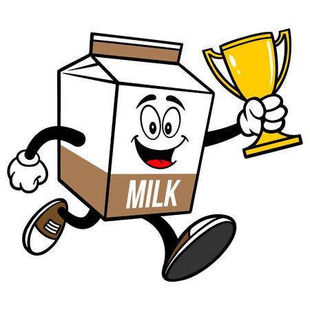 Chocolate Milk Carton Mascot running with a Trophy  - A cartoon illustration of a Chocolate Milk carton mascot.
