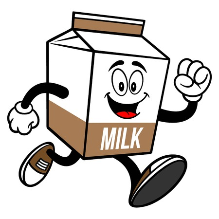 Chocolate Milk Carton Mascot Running - A cartoon illustration of a Chocolate Milk carton mascot.