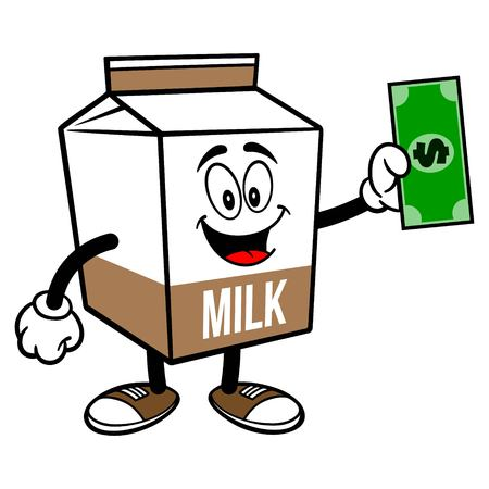 Chocolate Milk Carton Mascot with a Dollar - A cartoon illustration of a Chocolate Milk carton mascot. 写真素材 - 122787176