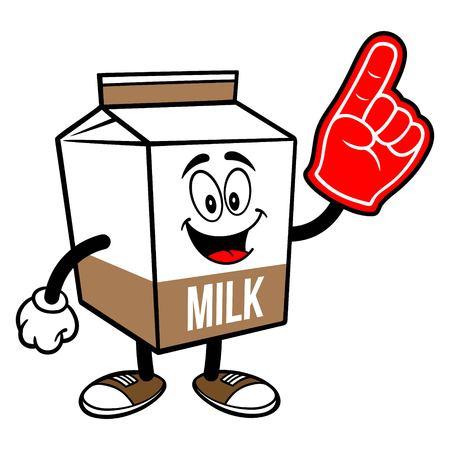 Chocolate Milk Carton Mascot with a Foam Hand - A cartoon illustration of a Chocolate Milk carton mascot.