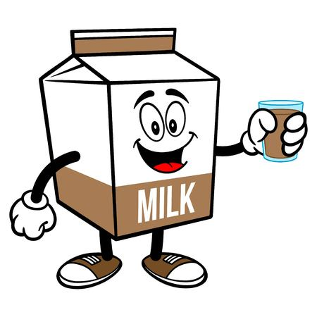 Chocolate Milk Carton Mascot with a Glass of Chocolate Milk - A cartoon illustration of a Chocolate Milk carton mascot. 写真素材 - 122787178