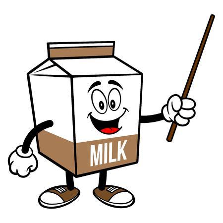 Chocolate Milk Carton Mascot with a Pointer Stick - A cartoon illustration of a Chocolate Milk carton mascot.  イラスト・ベクター素材