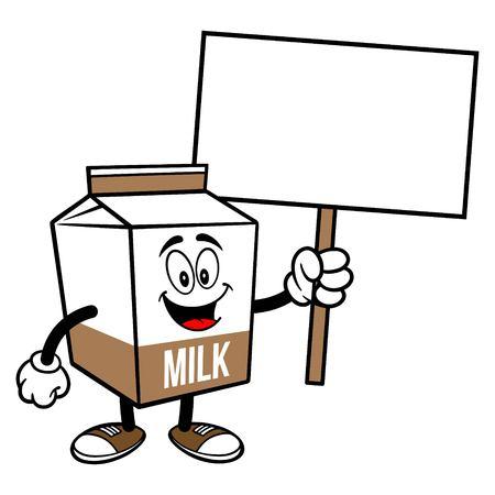 Chocolate Milk Carton Mascot with a Sign - A cartoon illustration of a Chocolate Milk carton mascot.