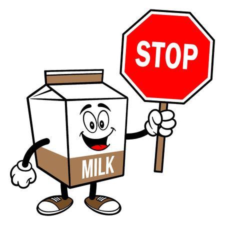 Chocolate Milk Carton Mascot with a Stop Sign - A cartoon illustration of a Chocolate Milk carton mascot.