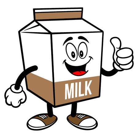 Chocolate Milk Carton Mascot with Thumbs Up - A cartoon illustration of a Chocolate Milk carton mascot.  イラスト・ベクター素材