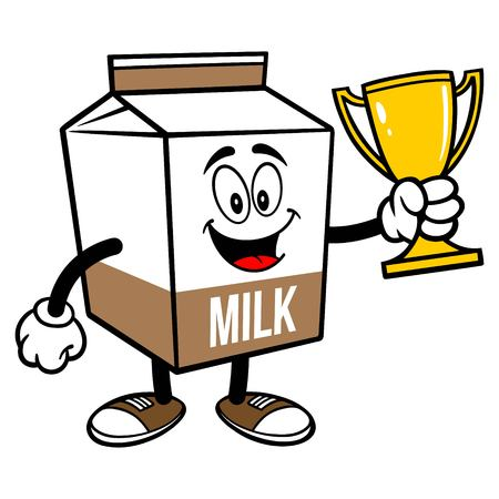 Chocolate Milk Carton Mascot with a Trophy - A cartoon illustration of a Chocolate Milk carton mascot. 写真素材 - 122787183