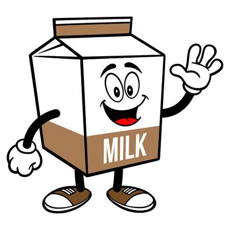 Chocolate Milk Carton Mascot Waving - A cartoon illustration of a Chocolate Milk carton mascot.  イラスト・ベクター素材