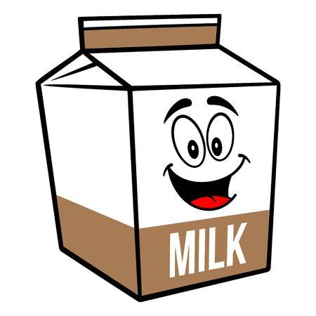Chocolate Milk Carton Mascot - A cartoon illustration of a Chocolate Milk carton mascot.