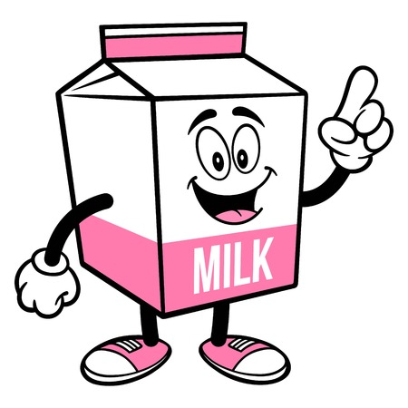 Strawberry Milk Carton Mascot Pointing - A cartoon illustration of a Strawberry Milk carton mascot.  イラスト・ベクター素材
