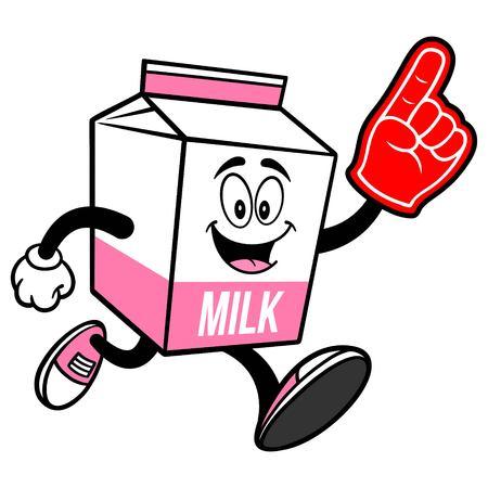 Strawberry Milk Carton Mascot running with a Foam Finger - A cartoon illustration of a Strawberry Milk carton mascot.