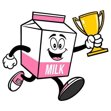 Strawberry Milk Carton Mascot running with a Trophy  - A cartoon illustration of a Strawberry Milk carton mascot.  イラスト・ベクター素材