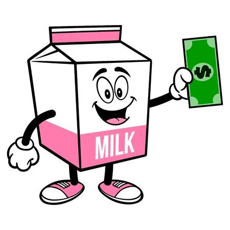 Strawberry Milk Carton Mascot with a Dollar - A cartoon illustration of a Strawberry Milk carton mascot.