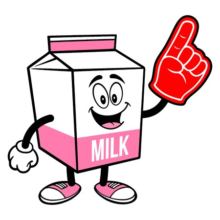 Strawberry Milk Carton Mascot with a Foam Hand - A cartoon illustration of a Strawberry Milk carton mascot. 写真素材 - 122787192