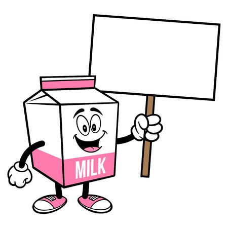 Strawberry Milk Carton Mascot with a Sign - A cartoon illustration of a Strawberry Milk carton mascot.