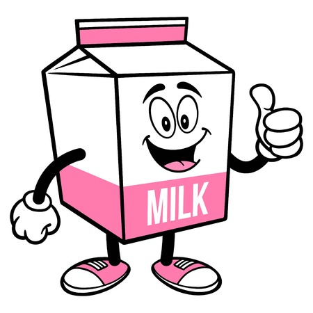 Strawberry Milk Carton Mascot with Thumbs Up - A cartoon illustration of a Strawberry Milk carton mascot.