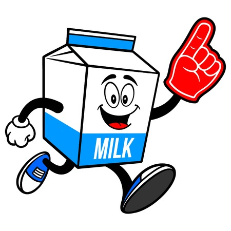 Milk Carton Mascot running with a Foam Finger - A cartoon illustration of a  Milk carton mascot.  イラスト・ベクター素材