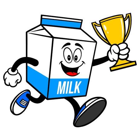 Mascotte di cartone di latte in esecuzione con un trofeo - Un fumetto illustrazione di una mascotte di cartone di latte. Vettoriali