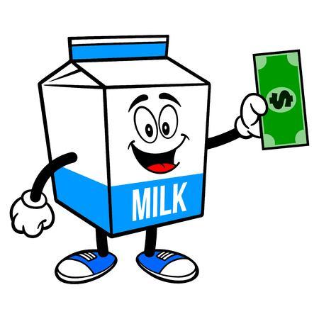 Milk Carton Mascot with a Dollar - A cartoon illustration of a  Milk carton mascot.