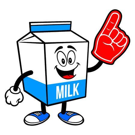 Milk Carton Mascot with a Foam Hand - A cartoon illustration of a  Milk carton mascot.  イラスト・ベクター素材