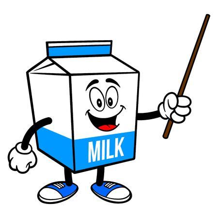 Milk Carton Mascot with a Pointer Stick - A cartoon illustration of a  Milk carton mascot.