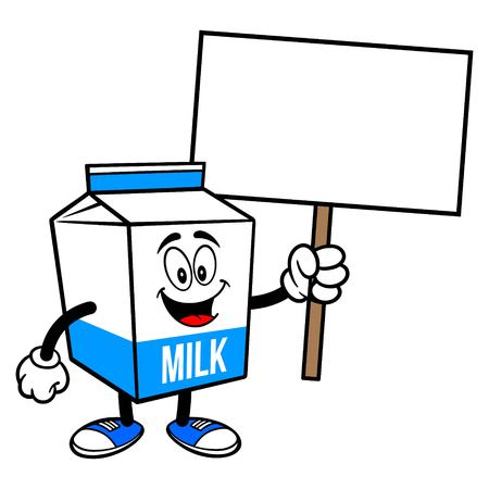 Milk Carton Mascot with a Sign - A cartoon illustration of a  Milk carton mascot.  イラスト・ベクター素材