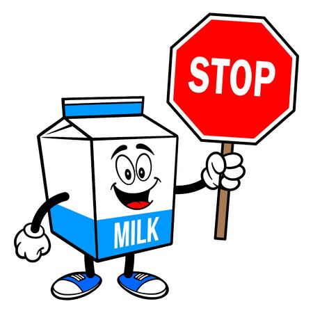 Milk Carton Mascot with a Stop Sign - A cartoon illustration of a  Milk carton mascot. 写真素材 - 122787211