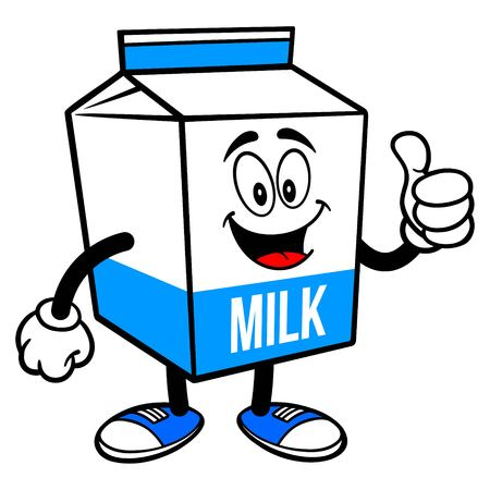 Milk Carton Mascot with Thumbs Up - A cartoon illustration of a  Milk carton mascot. 写真素材 - 122787212