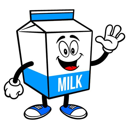 Milk Carton Mascot Waving - A cartoon illustration of a  Milk carton mascot.  イラスト・ベクター素材