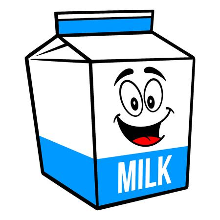 Milk Carton Mascot - A cartoon illustration of a  Milk carton mascot.